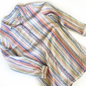 St Tropez West Striped Linen Button Down (L)